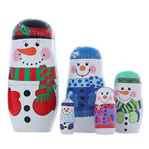WFRAU Weihnachten Deko Christmas Russische Matroschka Hölzerne Puppe Geschenk für Kinder Dekoartikel Weihnachten Handbemalte Holzfigur Kindergeschenke