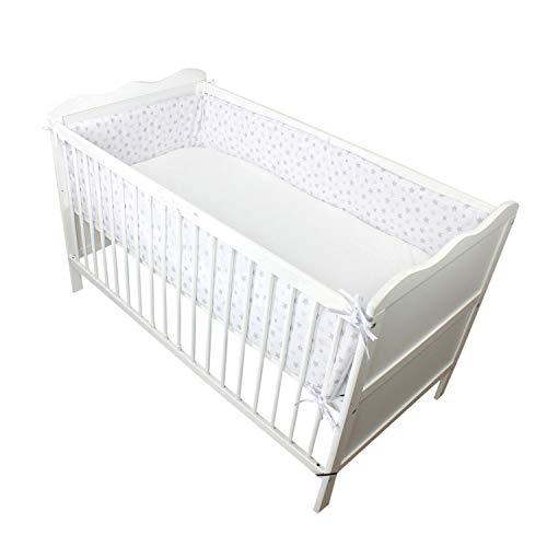 TupTam Babybett Bettumrandung Lang Gemustert, Farbe: Tupfen-Sterne Grau, Größe: 360x30cm (für Babybett 120x60)