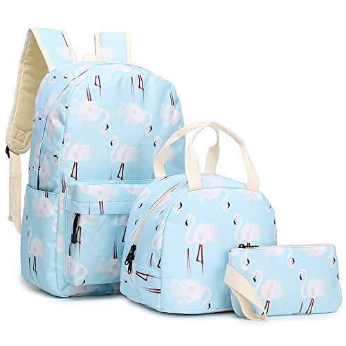ZBK Flamingo Pattern Backpack for Girls,Laptop Backpack for Women,School Bag Set, with Lunch Bag and Pencil case(Light Blue)