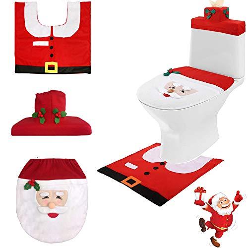 Gsyamh Coperchio WC Design Babbo Natale Set Sedili Copriwater Decorazioni Natalizie Coprisedile per WC con Tappetino da Bagno Babbo Natale Adatto per Isolare Il WC Freddo in Inverno(1 Impostato)