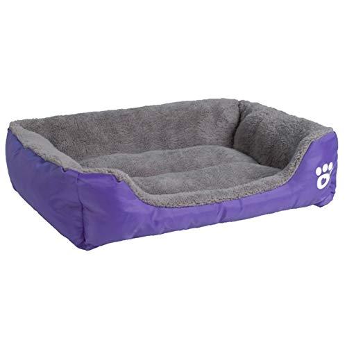 ZJXYYYzj Hundebett, S-2XL 9 Farben Pfote Haustier Sofa Hund Betten wasserdichte Untere Weiche Fleece Warme Katze Bett Haus (Color : Purple, Size : Medium)