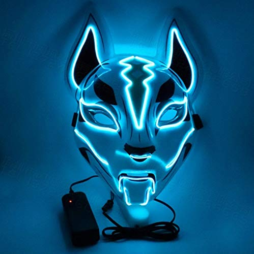 XZHH Led Masker Horror Party Halloween Kostuum Jurk Grimace Accessoires Glow Role Speelmasker Lichtblauw