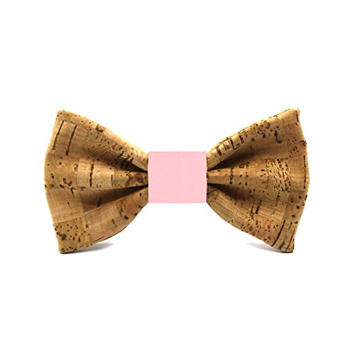 Pajarita de corcho Brick. Colección de moda hombre: hecha a mano en España. Línea boda y eventos. Regalo vegano, elegante y original. Color a elegir (Rosa palo)