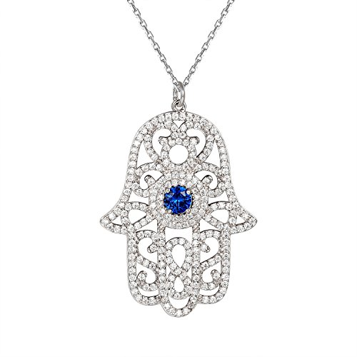 Master Of Bling Blue Solitaire Hamsa Hand Pendant Good Luck Charm Necklace 925 Silver Free Necklace