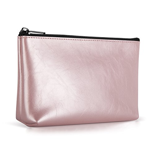 Ayotu PU Leather Lightweight Waterproof Portable Storage Pouch Bag Case Accessories Organizer, Electronics Accessory Travel Organize Case, Cable Management Hard Drive Bag -Rose gold