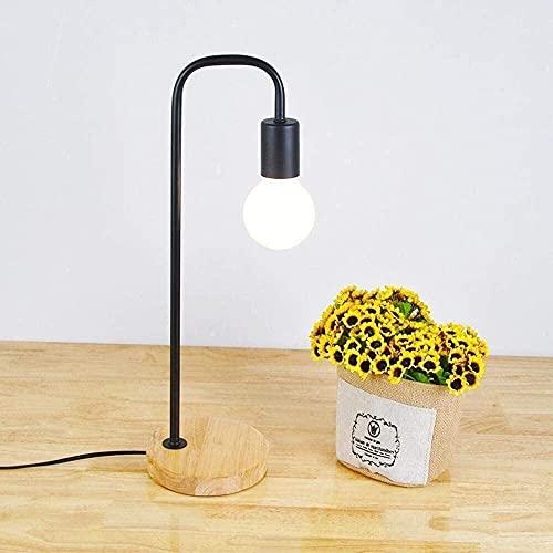 CMMT Lámpara de Mesa Lámpara de escritorio LED de dise?o minimalista industrial nórdico moderno creativo pero sin pantalla con cuerpo de hierro, base de roble e interruptor regulable dormitorio, estud