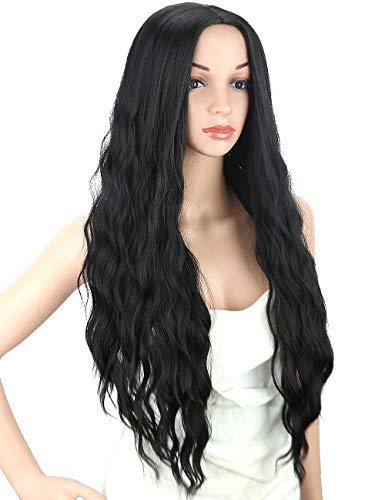Kalyss 24 Zoll Schwarz Lockig Gewellt Hitzebeständige Synthetische Haarperücken für Frauen Mittelscheitel Keine Spitze Front Haarersatz Perücken