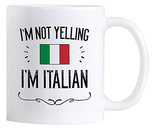 Casitika Funny Italian Pride Coffee Mugs. 11 oz Ceramic Italy Flag Novelty Mug. I'm Not Yelling I'm Italian.