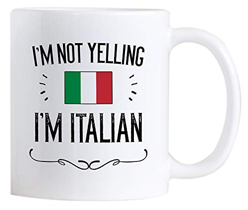 Casitika Funny Italian Pride Coffee Mugs. 11 oz Ceramic Italy Flag Novelty Mug. I'm Not Yelling I'm Italian.