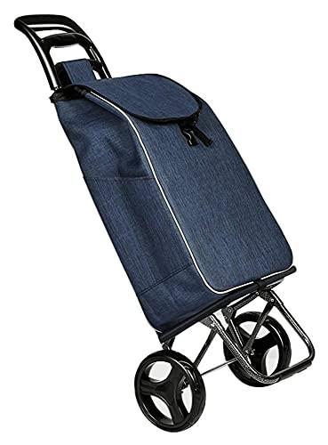 TabloKanvas Carrello della Spesa Pieghevole Carrello Domestico Car Portable 2 Ruota Silenzio Carrello dei Bagagli (Color : Blue, Size : 55x35x20cm)