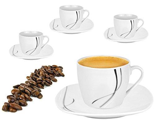 Van Well 4er Set Espressotasse mit Untertasse weiß - Verschiedene Dekore wählbar, Dekor:Silver Night
