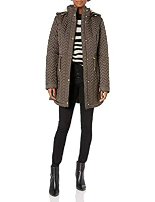 LAUNDRY BY SHELLI SEGAL Women's Quilt Jacket with Faux Fur Trim, Taupe, Medium