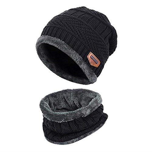 Acexy Wintermütze Herren Damen Warme Strickmütze und Kreis Schal Set im Freien Schal Beanie Skull Cap für den Winter (Black)