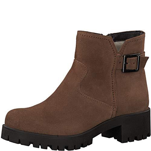 Tamaris Damen Stiefeletten 26723-33, Frauen Plateaustiefeletten, Woman Freizeit leger Stiefel Boots halbstiefel Plateau-Bootie,Cognac,38 EU / 5 UK