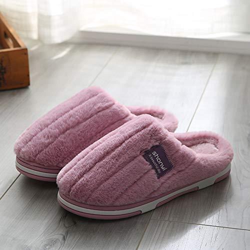 Qsy shoe Pantoufles en Coton rayé à la Maison Quelques Chaudes Lune Anti-dérapante, C5-M819-violet, 35-36