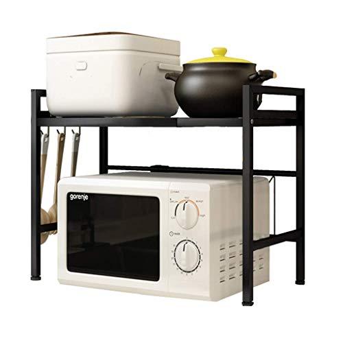 YANXIH El estante para horno de microondas se puede extender y ajustar, 2 capas, con 3 ganchos, 70 kg de capacidad de carga, color negro