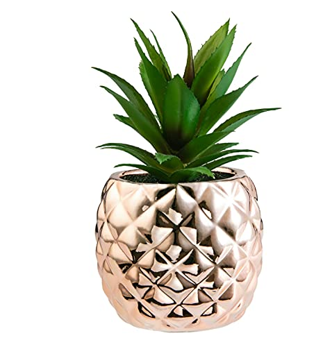 Porcelain Potted Artificial Succulent 7.8' Pineapple Ananas Plant Home Office Kitchen Window Bathroom Decoration (Rose Gold)