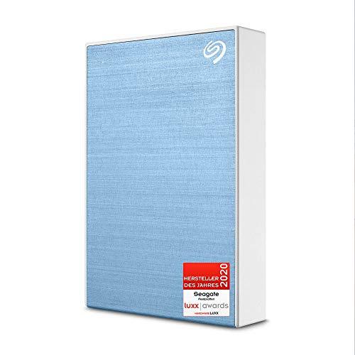 Seagate One Touch, tragbare externe Festplatte 4 TB, PC, Notebook & Mac, USB 3.0, Hellblau, inkl. 2 Jahre Rescue Service, Modellnr.: STKC4000402