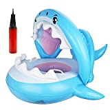 IWILCS Anillo de Natación para Bebés, Flotador para Bebé para bebés con protección Solar, Bote Inflable para niños, Asiento de natación para Tiburones Anillo de natación