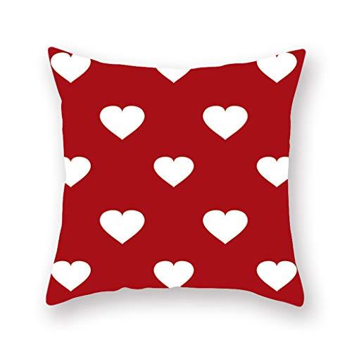 HINK Funda de Almohada para el día de San Valentín Funda de cojín para la Cintura del Coche del sofá de poliéster Decoración del hogar, Funda de Almohada para el día de San Valentín