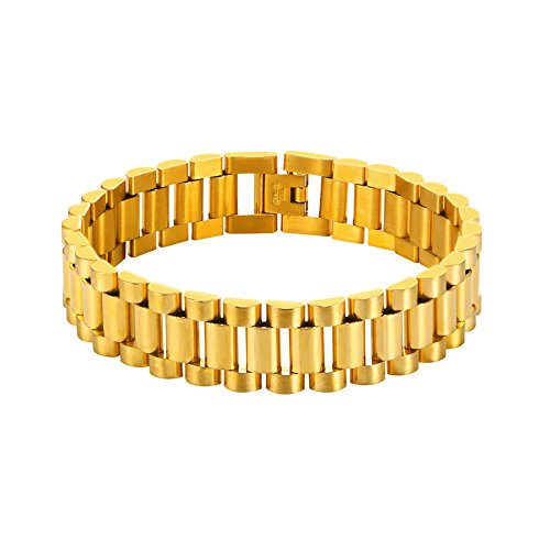 U7 22cm Armband für Männer Jungen 18k vergoldet Klassische Gliederarmband 15mm breit Biker Armkette Armreif einfach Modeschmuck Accessoire Geschenk für Vatertag Valentinstag