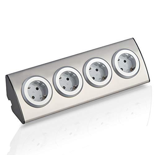 Edelstahl Eck-Steckdose, silber, Schuko, USB, für Küche, Büro. Steckdosenleiste 45° Aufbau-Montage ideal für Arbeitsplatte, selbstklebend, Edelstahl:4x ohne Kabel