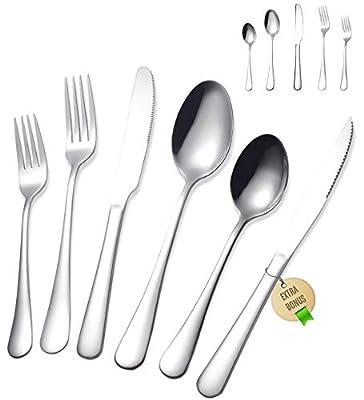 Stainless Steel Silverware Set - FORID 21 Piece Flatware Set with Steak Knives Mirror Polished Cutlery Utensil Set Service for 4 Include Knife Fork Spoon Dishwasher Safe (Extra Bonus:1 Steak Knife)
