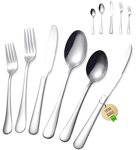 Stainless Steel Silverware Set - FORID 21 Piece Flatware Set with Steak Knives Mirror Polished Cutlery Utensil Set Service for 4 Include Knife Fork...