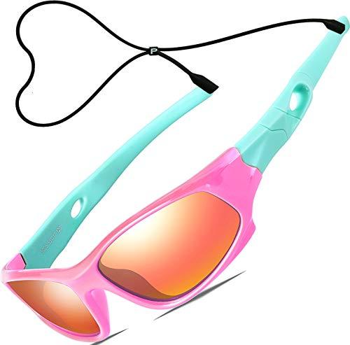 ATTCL Kinder Sonnenbrille TR90 Polarisierte Sportbrille für Jungen und Mädchen Alter 3-10 5025 Pink-blue