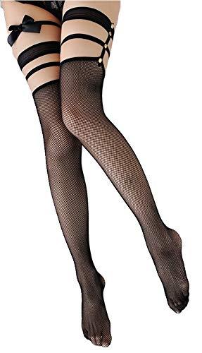 krautwear Damen Netz Strümpfe Schwarz Mit Nieten im Halter Sexy Abschluss (2131)
