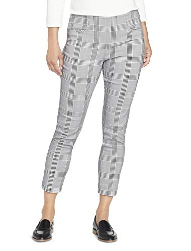 Van Heusen Womens Petite Super Stretch Slim Fit Ankle Length Pull-On Pant Unterhose, Black/White Plaid, 16