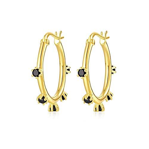 Brandlinger ® Atelier Creole Gold aus vergoldetem 925 Sterling Silber mit schwarzen Zirkonia Steinen. Ohrringe Gold und innerer Durchmesser 14,5 mm (Gold)