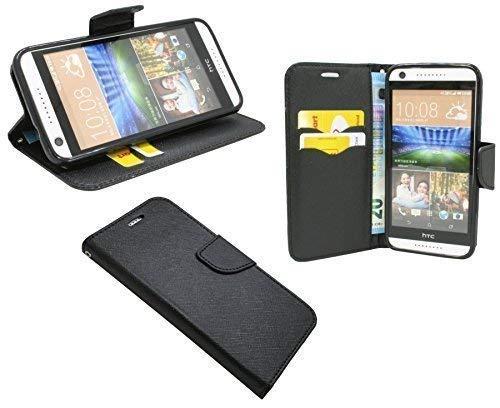 ENERGMiX Buchtasche kompatibel mit HTC Desire 620 Hülle Case Tasche Wallet BookStyle mit Standfunktion in Schwarz