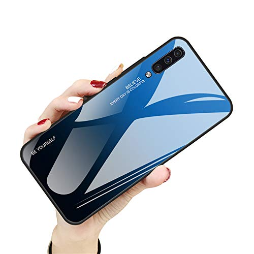 Hülle für Samsung Galaxy A50, Handyhülle Galaxy A50 Glashülle Hybrid Silikon TPU mit Gradient 9H Gehärtetes Glas Galaxy A70 Schutzhülle Case Cover Tasche Schale für Samsung Galaxy A70, Himmelblau, A50