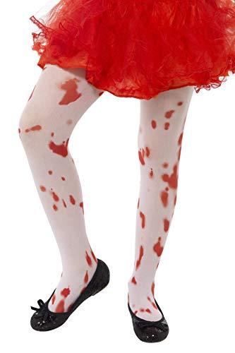 Halloween! Smiffys Strumpfhose, Weiß, mit Blutfleck-Aufdruck, Alter 6 12