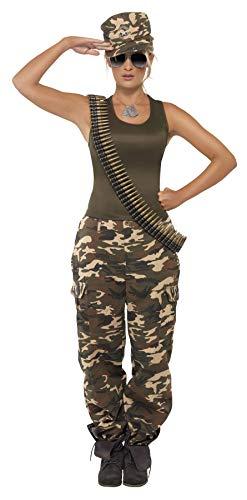 Smiffys-35457M Disfraz de Camuflaje Deluxe, Color Caqui, para Mujer, Incluye Camiseta y pantalo, Verde, M-EU Tamaño 40-42 (Smiffy'S 35457M)