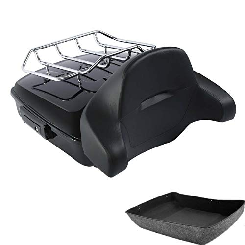 Find Discount Green-L Chopped Tour Pack Trunk with Backrest Top Luggage Rack Fit For Harley Touring ...