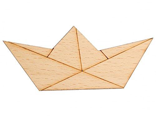 Miniblings Papierschiff Brosche Pin Meer Schiff Boot Abstrakt Origami Holz - Handmade Modeschmuck I Anstecknadel Button Pins