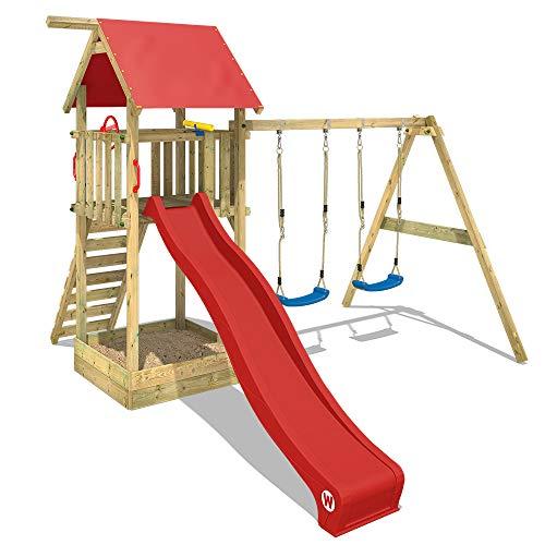 Wickey Spielturm Kletterturm Smart Empire Garten Spielgerät mit roter Rutsche, Doppelschaukel und Sandkasten, rote Plane + rote Rutsche