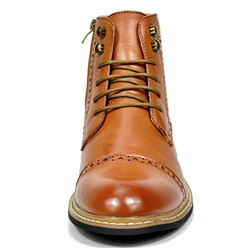 Bruno Marc Men's Bergen-03 Brown Leather Lined Oxfords Dress Ankle Boots Size 7.5 M US