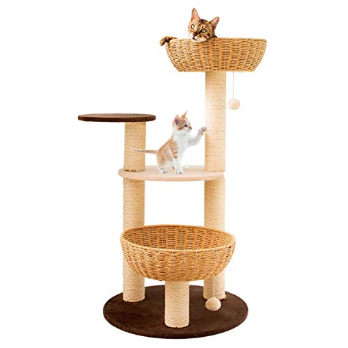 Sturdy Cat Climbing Frame Best for Kitten & Large Cats, Kittens Furniture Play House with Hand Woven Cat Nest & Hanging Ball, Tall 120cm