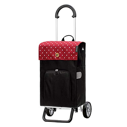 Andersen Shopper Scala Plus Alu klappbar mit Rad Ø 15cm & 45 Liter Tasche Malit mit Kühlfach rot
