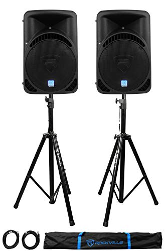 "2 Rockville RPG15BT 15"" Active BlueTooth Wireless Link DJ Speakers+Stands+Cables"