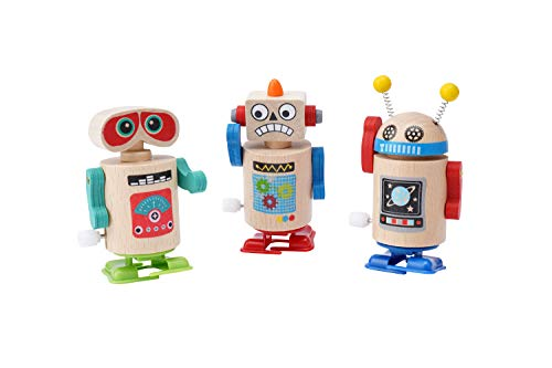 CGB Giftware Set of 3 Wooden Wind Up Walking Toy Robots | Kids Toy | CC00111