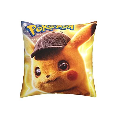 Pokemon Pikachu Fundas de almohada Anime Pop Accesorio Fundas de almohada Dormitorio Sala de estar Sofá Decoración del hogar Funda de almohada linda Regalo 18 x 18 Inches