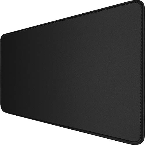 Large Extended Gaming Mouse Pad with Stitched Edges, (31.5X15.7In) Durable Non-Slip Natural Rubber Base, Waterproof Computer Keyboard Pad Mat for Esports Pros/Gamer/Desktop/Office/Home-Black