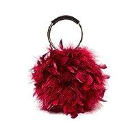 valiclud borsa da sera con pochette in piuma con manico rotondo per donna pochette da cocktail per donna - vino rosso