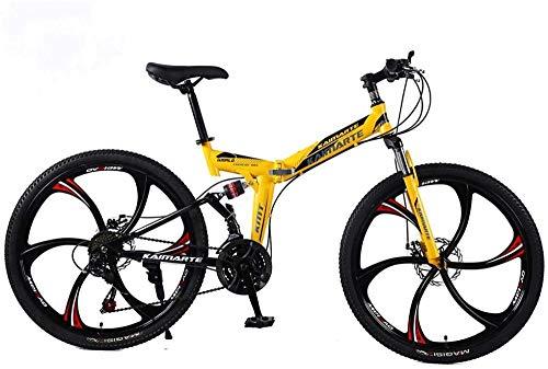 Bicicleta de montaña 24/26 Pulgadas 6 Ruedas de Radio Doble suspensión Bicicleta Plegable 21/24/27 Velocidad MTB Adultos Hombres y Mujeres universales-Amarillo_24 Pulgadas