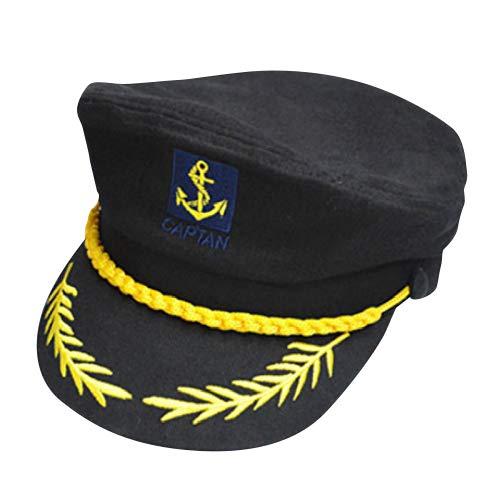 Gorra capitán hombres mujeres negro blanco - Disfraz para Adultos y Niños - Perfecto para Carnaval - Talla única (D)