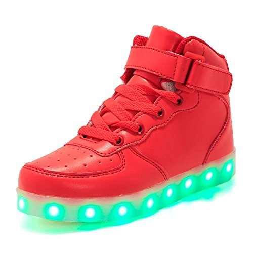 Licy Life-UK Unisex chłopcy dziewczęta klasyczne wysokiej klasy lampki LED 7 kolorów ładowarka USB LED trampki trampki buty do biegania świecące, - Red Sm032 - 31 EU